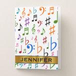 [ Thumbnail: Custom Name, Many Colorful Music Notes and Symbols Pocket Folder ]