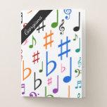 [ Thumbnail: Custom Name; Many Colorful Music Notes and Symbols Pocket Folder ]