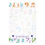 [ Thumbnail: Custom Name; Many Colorful Music Notes and Symbols Stationery ]