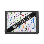 [ Thumbnail: Custom Name; Many Colorful Music Notes and Symbols Trifold Wallet ]