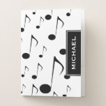 [ Thumbnail: Custom Name & Many Musical Notes Pattern Pocket Folder ]