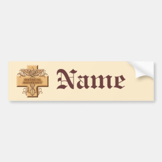 Custom Name Medical Assistant Caduceus Bumper Sticker