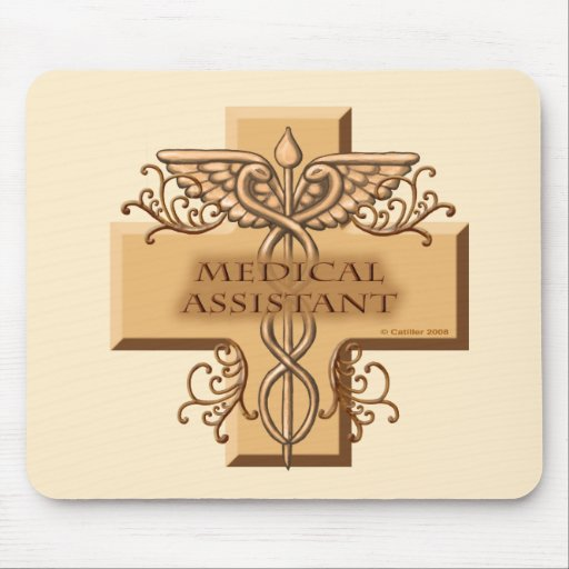 Custom Name Medical Assistant Caduceus Mouse Pad