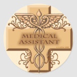 Custom Name Medical Assistant Caduceus Classic Round Sticker
