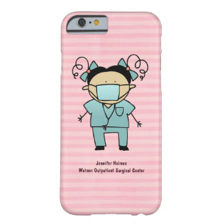 Custom Name Medical Female Nurse Pink Stripe Barely There iPhone 6 Case
