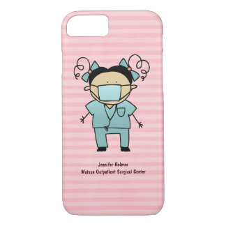 Custom Name Medical Female Nurse Pink Stripe iPhone 8/7 Case