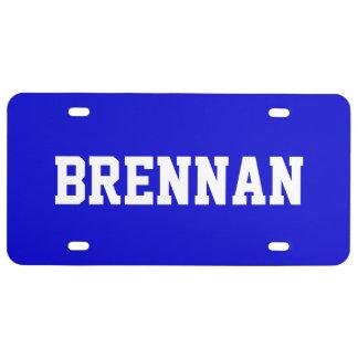 Custom Name Medium Blue License Plate
