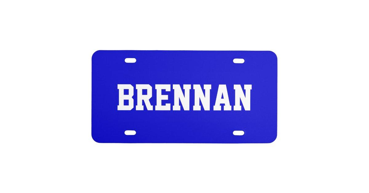 Custom Name Medium Blue License Plate Zazzle
