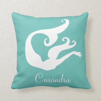 Custom Name Mermaid White on teal blue pillow
