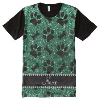 Custom name mint green glitter bones dog paws All-Over print shirt