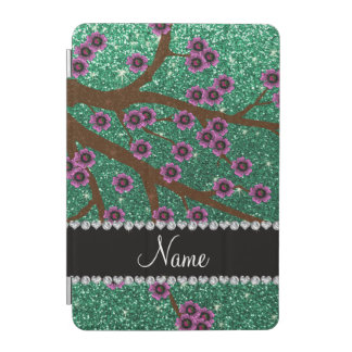 Custom name mint green glitter cherry blossoms iPad mini cover