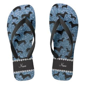 Custom name misty blue glitter dachshunds flip flops