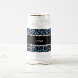 Custom name misty blue glitter leopard print mug