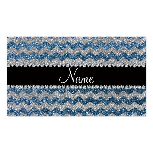 Custom name misty blue silver glitter chevrons business card