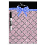 Custom name misty pink glitter moroccan blue bow Dry-Erase whiteboard