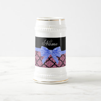 Custom name misty pink glitter moroccan blue bow mugs