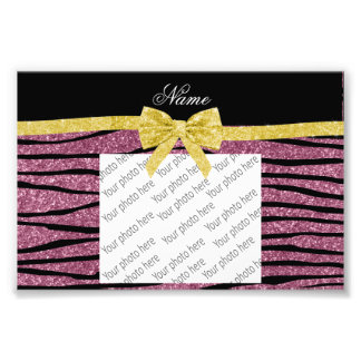 Custom name misty pink glitter zebra stripes bow photo print