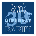 Custom Name Modern 30th Birthday Huesof Blue Custom Invitations