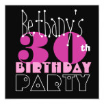 Custom Name Modern 30th Birthday Pink Black S411 Invitations