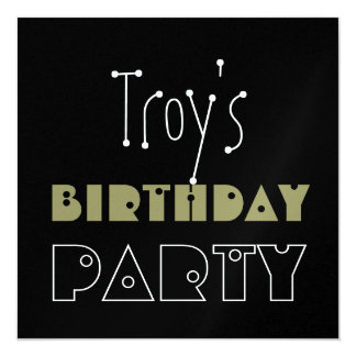 Custom Name Modern Birthday Party Camo Green Black Card