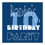 Custom Name Modern Kid's 10th Birthday Blue Personalized Invitations