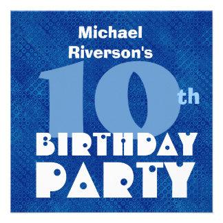 Custom Name Modern Kids 10th Birthday Blue W620 Invitations