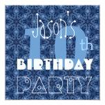 Custom Name Modern Kid's 10th Birthday Blue Y115 Personalized Invitations