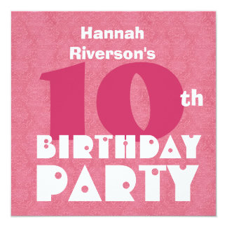 Custom Name Modern Kids 10th Birthday Pink W619 Card