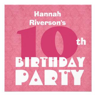 Custom Name Modern Kids 10th Birthday Pink W619 Custom Invite