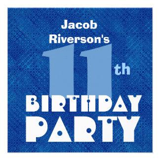 Custom Name Modern Kids 11th Birthday Blue W618 Custom Invite