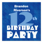 Custom Name Modern Kid's 12th Birthday Blue C358 Custom Invites