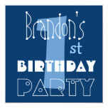 Custom Name Modern Kid's 1st Birthday Blue Personalized Invitation