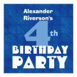 Custom Name Modern Kids 4th Birthday Blue W632 Invitations