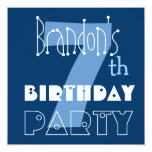 Custom Name Modern Kid's 7th Birthday Blue Invitations