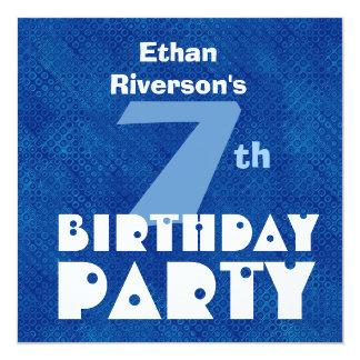 Custom Name Modern Kids 7th Birthday Blue W626 5.25x5.25 Square Paper Invitation Card
