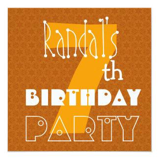 Custom Name Modern Kid's 7th Birthday Party 5.25x5.25 Square Paper Invitation Card