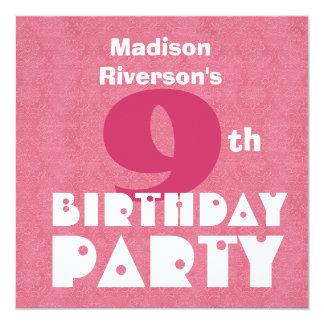 Custom Name Modern Kids 9th Birthday Pink W621 Card
