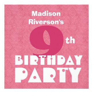Custom Name Modern Kids 9th Birthday Pink W621 Personalized Invitations