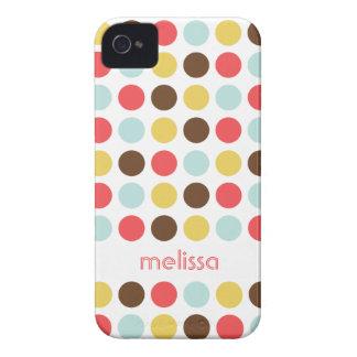 Custom name modern polka dot colorful pattern iPhone 4 Case-Mate case