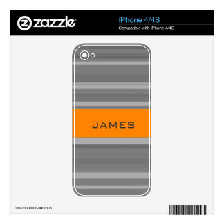 Custom Name Modern Purple Stripes Background Decals For iPhone 4S
