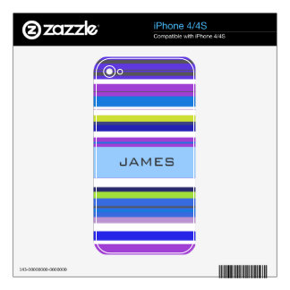 Custom Name Modern Purple Stripes Background iPhone 4 Decal