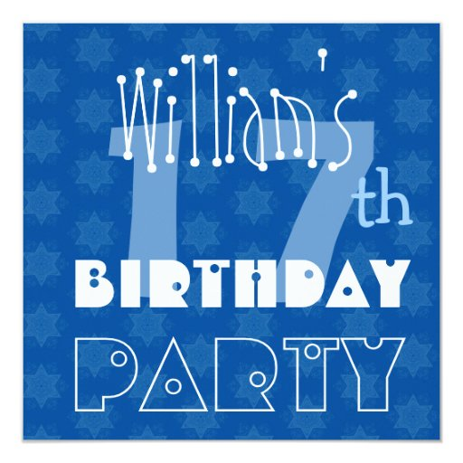 Custom Name Modern Teen's 17th Birthday Blue Personalized Invitation