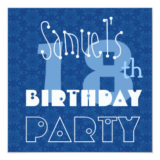 Custom Name Modern Teen's 18th Birthday Blue 5.25x5.25 Square Paper Invitation Card
