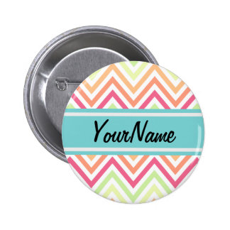 Custom Name Modern Trendy Chevron Pattern Gifts Pinback Button
