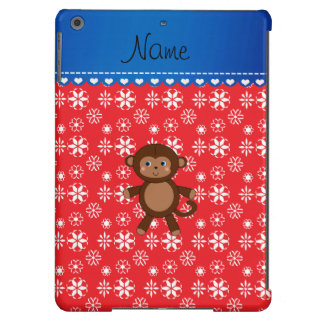 Custom name monkey christmas red snowflakes iPad air cover