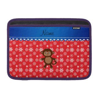 Custom name monkey christmas red snowflakes MacBook air sleeves