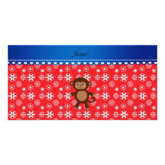 Custom name monkey christmas red snowflakes photo card