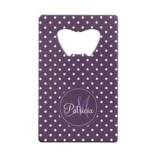 Custom Name Monogram. Acai Violet White Polka Dots Credit Card Bottle Opener