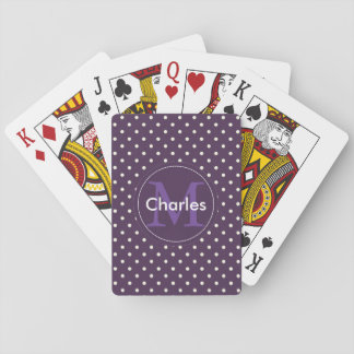 Custom Name Monogram. Acai Violet White Polka Dots Playing Cards