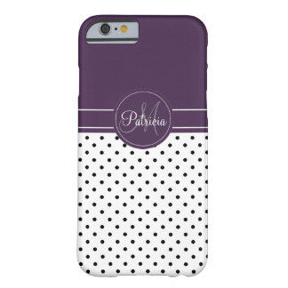 Custom Name Monogram. Chic Acai Violet, Polka Dots Barely There iPhone 6 Case